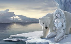 ���������: girl, polar bear, fantasy