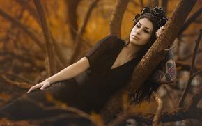 Настроения: девушка, чёрное платье, венок, тату, настроение, деревья
