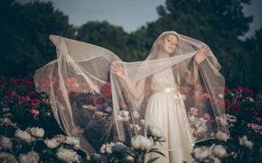 Настроения: невеста, свадебное платье, фата, настроение, цветы, пионы