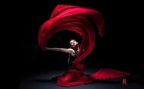 Настроения: девушка, азиатка, танец, материя, настроение