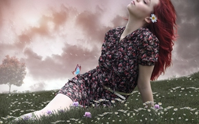 Настроения: девушка, настроение, луг, цветы, ромашки, бабочка