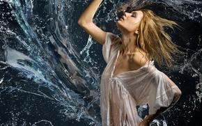 Настроения: девушка, блузка, вода, брызги, настроение
