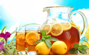 Разное: Кувшин, графин, стол, стаканы, холодный, чай, напиток, лимоны, мята, цветы, небо