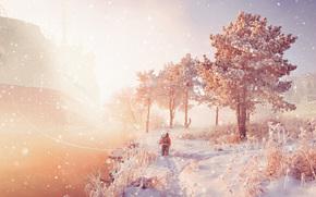 Настроения: зима, судно, ребенок, деревья, снег