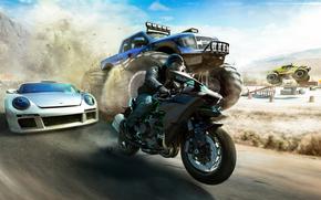 Игры: The Crew: Wild Run, гонки, мотоциклист, машины