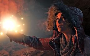 Игры: Rise of the Tomb Raider, Tomb Raider, Lara Croft, девушка, факел