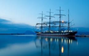 Корабли: Корабль, парусник, Крузенштерн, море, горы, небо, ночь, фонарь