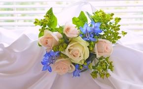Цветы: букет, розы, материя