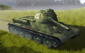 Оружие: Танк, Т-34-85, оружие, СССР, 9 мая, Победа, 1945