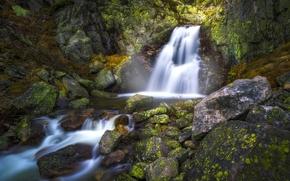 Природа: Norefjell, Norway, Нурефьель, Норвегия, водопад, камни