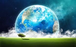 Рендеринг: Земля, космос, дерево, трава, облака, звёзды