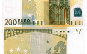 Разное: Деньги, евро, банкнота, купюра, 200