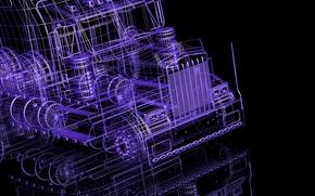 Рендеринг: 3D, грузовик, чертеж