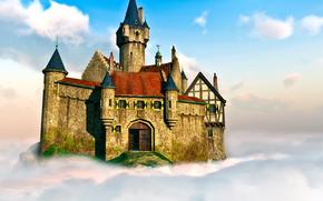 Рендеринг: 3D, замок, облако, небо
