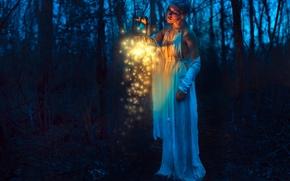 Настроения: девушка, фонарь, ночь, лес, настроение