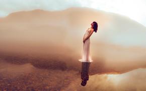 Настроения: девушка, платье, озеро, вода, отражение, настроение