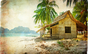 �����: vintage, beach, coast, palms, bungalow