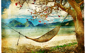 �����: vintage, beach, coast, hammock, tree