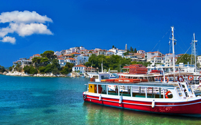 Корабли: boats, harbor, Skopelos island, Greece, panorama