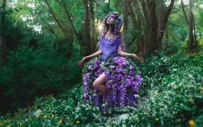 Настроения: девушка, наряд, венок, цветы, люпины, настроение, лес