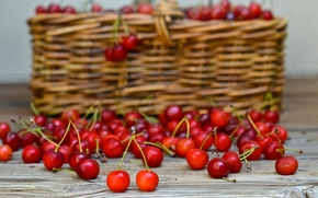 Разное: вишня, ягоды, корзина
