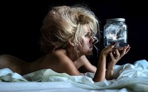 Настроения: девушка, причёска, банка, настроение, постель
