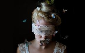 Настроения: девушка, повязка, кружево, бабочки, настроение