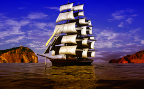 Рендеринг: 3D, ancient, ship, sailboat