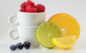 Разное: фрукты, ягоды, цитрусы, малина, голубика, лимон, апельсин, лайм, дольки, кружки, натюрморт