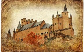 Стиль: Alcazar castle, Segovia, Spain, vintage