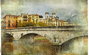 �����: bridge, Girona, Spain, vintage