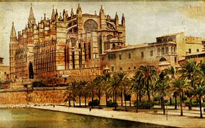 Стиль: Mallorca cathedral, Palma de Mallorca, Spain, vintage