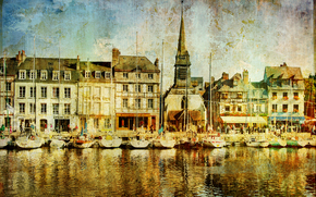 �����: Honfleur town, Calvados department, France, vintage