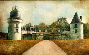 �����: Le Gue-pean castle, Loir-et-Cher department, France, vintage
