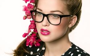 Настроения: Michele Spengler, лицо, очки, цветы, портрет