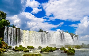 Пейзажи: Iguazu Falls, Brazil, Водопад Игуасу, Бразилия, водопад, кочки, небо, облака