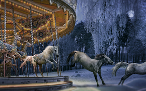 Рендеринг: 3D, freedom, carousel, horses, panorama