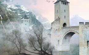 ���������: 3D, bridge, castle, fog, mountains, birds