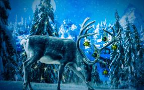 Рендеринг: 3D, christmas, bull elk