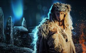 ���������: 3D, shamaness, ritual, northern lights