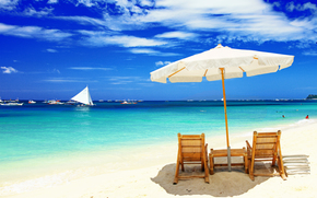 ����������: chairs, beach, umbrella, boats, Maldives