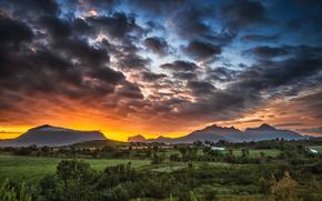 Пейзажи: sky, sunset, clouds, mountains, Lofoten islands, Norway