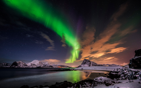 Пейзажи: Aurora borealis, clouds, mountains, Lofoten islands, Norway