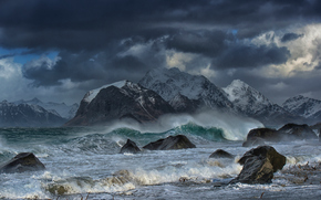 Пейзажи: wave, rocks, mountains, Lofoten islands, Norway