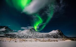 Пейзажи: Aurora borealis, Northern lights, winter, snow, mountains, Lofoten islands, Norway