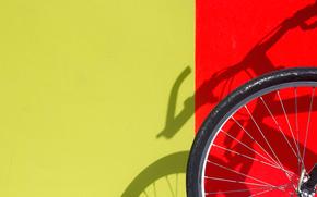 Минимализм: стена, жёлтый, красный, тень, велосипед, колесо