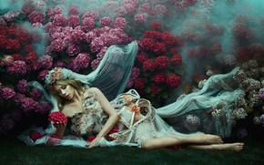 Стиль: девушка, модель, невеста, фата, настроение, стиль, наряд, цветы, гортензия