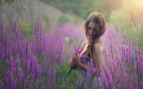 Настроения: девушка, цветы, луг, настроение