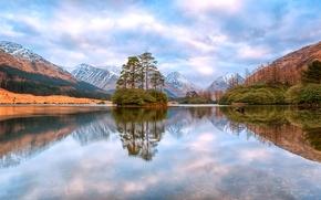 Пейзажи: Lochan Urr, Scottish Highlands, Glen Etive, Scotland, озеро Лохан-Урр, Северо-Шотландское нагорье, долина Глен Этив, Шотландия, озеро, горы, островок, отражение, деревья
