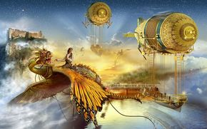Фантастика: Monde Imaginaire, castle, dragon, water, airships, trains, bridges